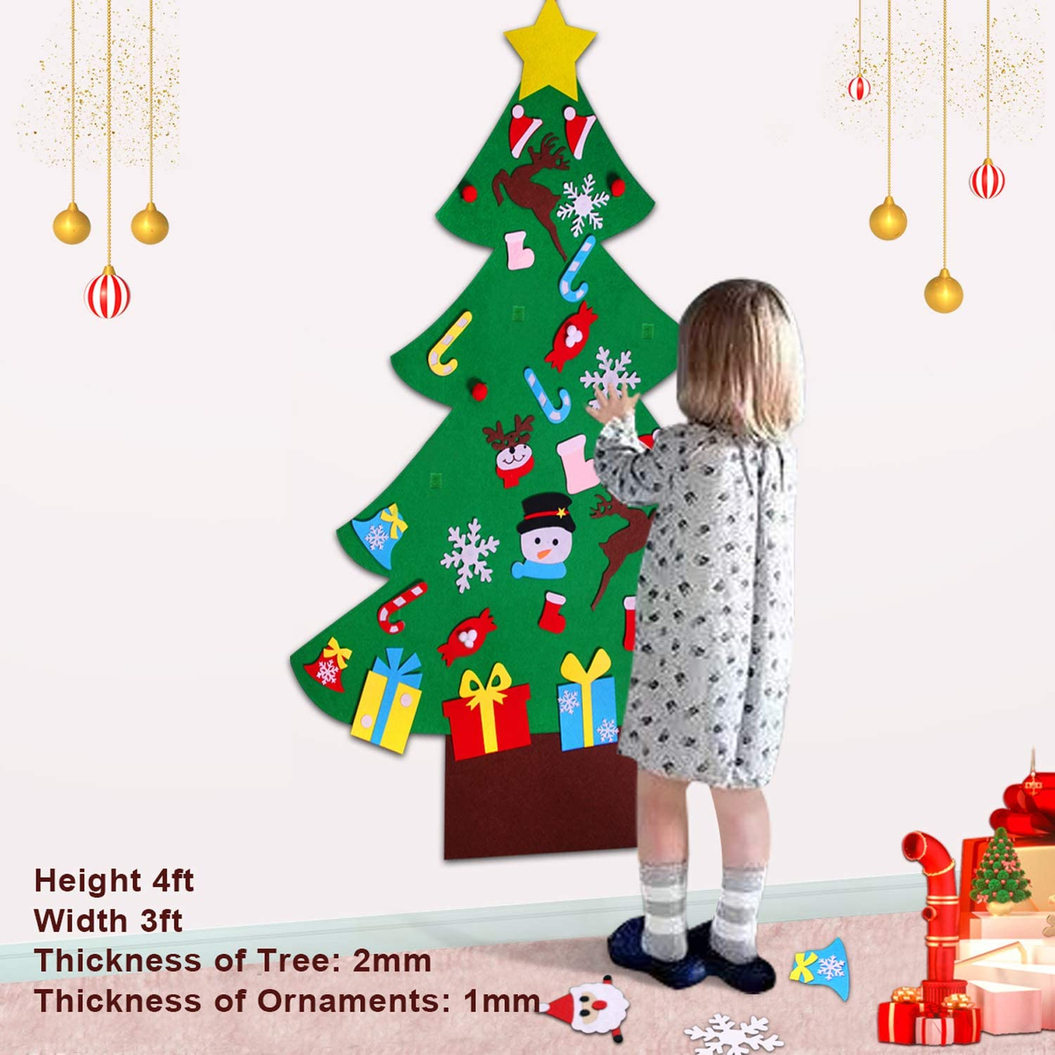 Party Birthday Festival Jupitoo Felt Christmas Tree Felt Toddler Toy Wall Decor with 33 Ornament Kids Felt Christmas Tree Kit Wall Hanging Decorations for Christmas New Year
