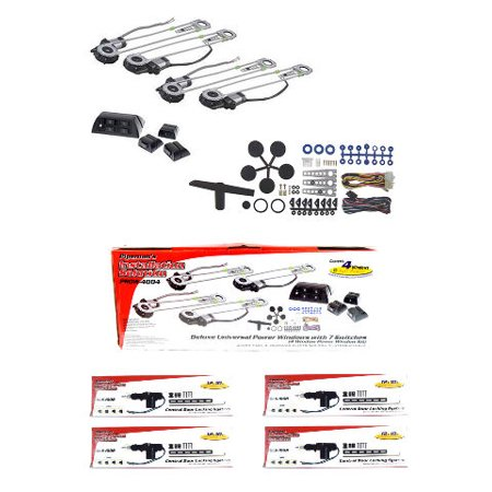 4 Door Electric Car Truck Power Window Door Lock Conversion Kit Roll Up  Switches