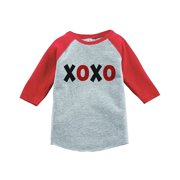 Custom Party Shop Kids XOXO Happy Valentine's Day Red Raglan - Large Youth (14-16) T-shirt