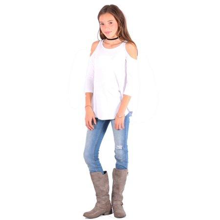 Lori&Jane Girls White Cold Shoulder Boat Neck Loose Fit Trendy Top (White Girls Shirt)