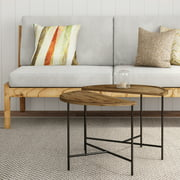 Half Moon Coffee Tables- Set of 2, Use Together or Separately as Side Tables, Modern Farmhouse Style, Rustic Wood Grain and Metal Legs by Lavish Home