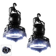 iMBAPrice 2-Pack Portable LED Camping Lantern with 18 LED Flashlight Ceiling Fan for Outdoor Hiking Fishing Outages and Emergencies Tent