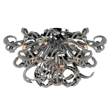 Brilliance Lighting and Chandeliers Metro Candelabra 19-light Chrome Finish and Clear Crystal 26-inch Wide Extra Large Ceiling Flush Mount
