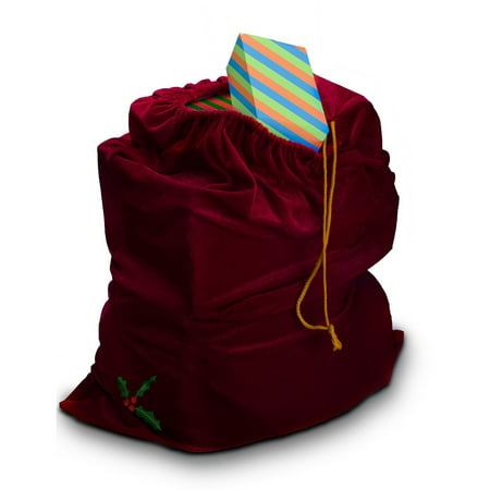 Sunnywood Santa Drawstring Gift Bag in Red - Green Santa Hats