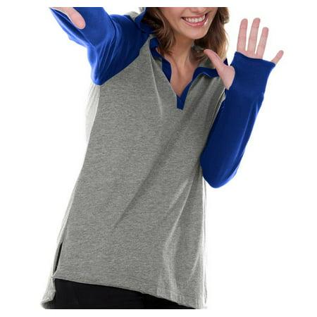 Juniors Jersey V-Neck Raglan Long Sleeve Hoodie, Style JJP0632