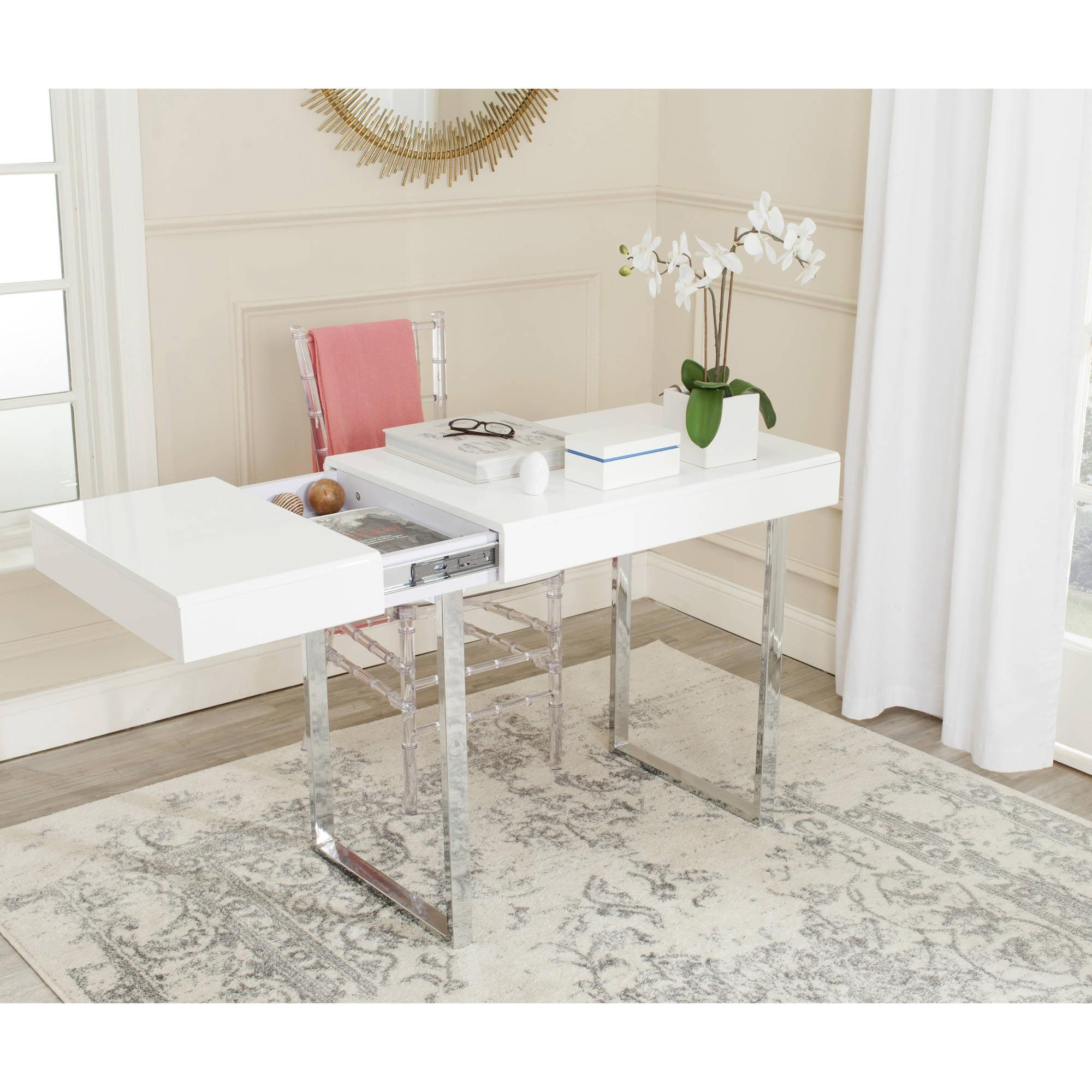 Safavieh Berkley Desk, White and Chrome