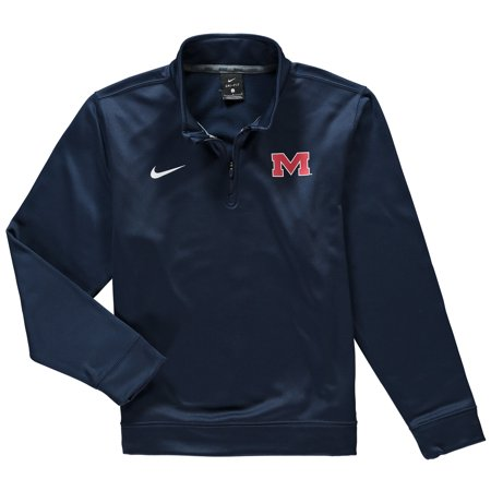 Ole Miss Rebels Nike Youth Therma Quarter-Zip Performance Jacket - Navy
