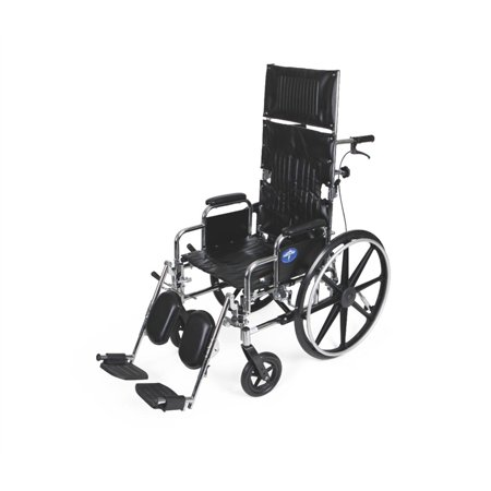 "Medline Excel Reclining Wheelchair, 20"" Wide Seat, Desk-Length Removable Arms, Elevating Leg Rests"