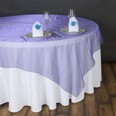 "90"" x 90"" Purple Organza Table Square Overlay Set of 2"