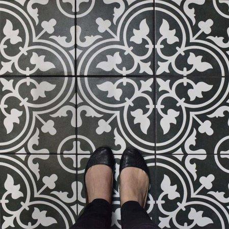 Mohawk Porcelain Tile - Somertile  Art Black Porcelain 9.75 x 9.75-inch Floor and Wall Tile (Case of 16)