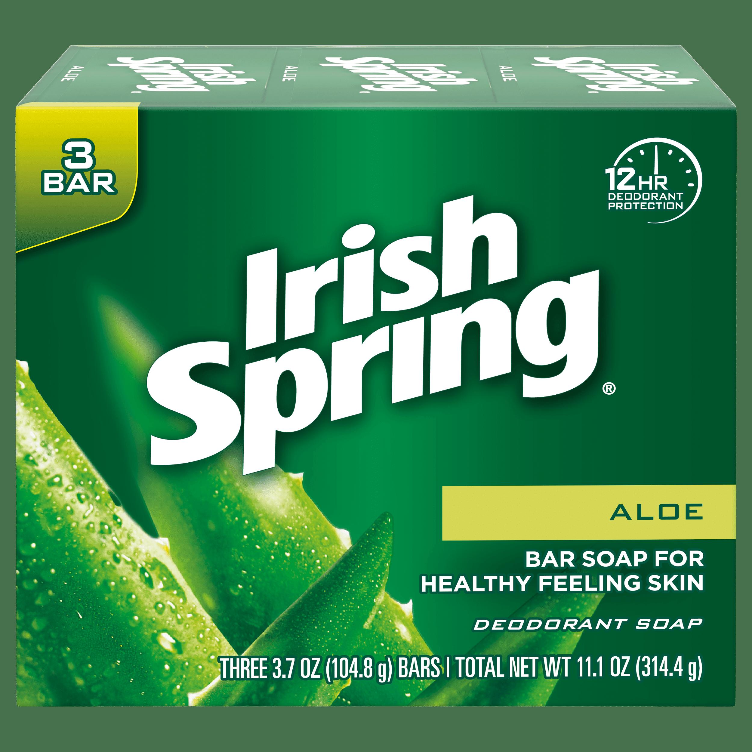 Irish Spring Aloe Vera Bar Soap, 3.7 Ounce, 3 Bar Pack