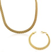Stainless Steel Yellow Gold-Tone Caviar Chain Womens Necklace Bracelet Set