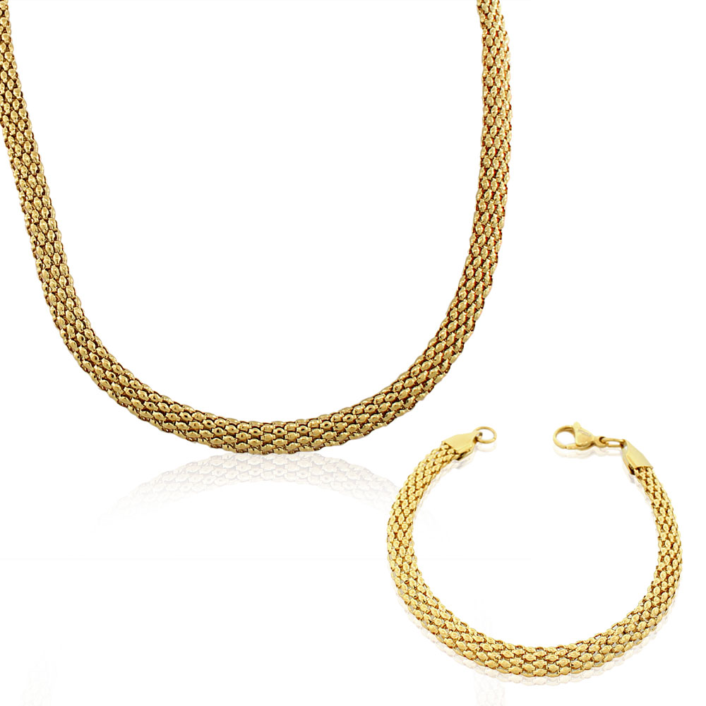 EDFORCE Stainless Steel Yellow Gold-Tone Caviar Chain Womens Necklace Bracelet Set