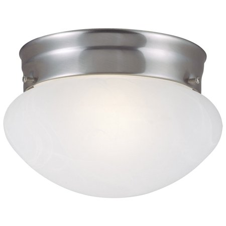 Design House 511568 Millbridge 2-Light Ceiling Light, Alabaster Glass, Satin Nickel