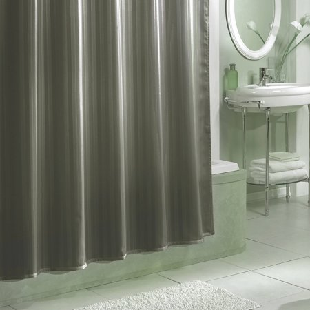 (Damask Stripe Fabric Shower Curtain Liner Grey)