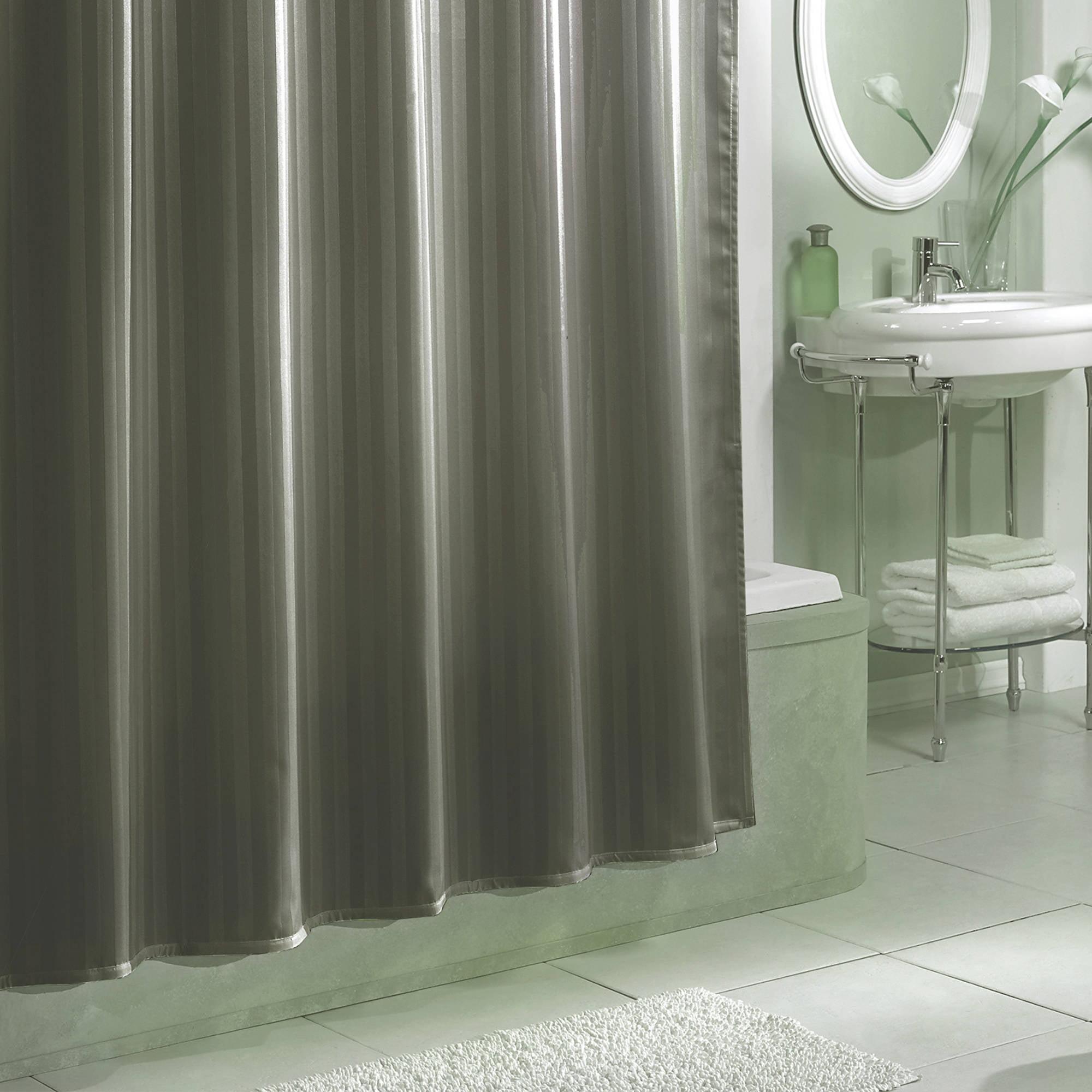 Damask Stripe Fabric Shower Curtain Liner Grey