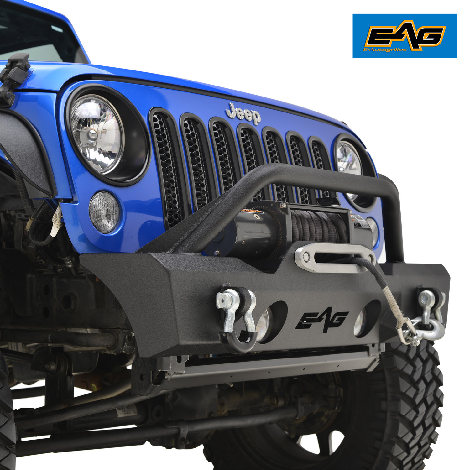 Jeep Wrangler Fog Lights >> Eag Front Bumper Stubby With Oe Fog Light Holes Fits 07 18 Jeep