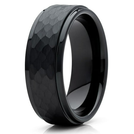 Tungsten Wedding Band Black Tungsten Ring 8mm Tungsten Carbide Hammered Band Comfort Fit Men Women