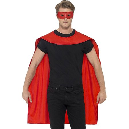 Red Unisex Superhero Cape Cloak With Eye Mask Costume Accessory - Red Feather Mask