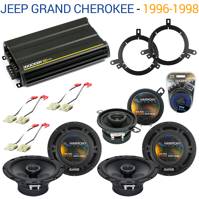Jeep Grand Cherokee 96-98 OEM Speaker Replacement Harmony Upgrade & CX300.4 Amp Factory Certified Refurbished by Harmony Audio