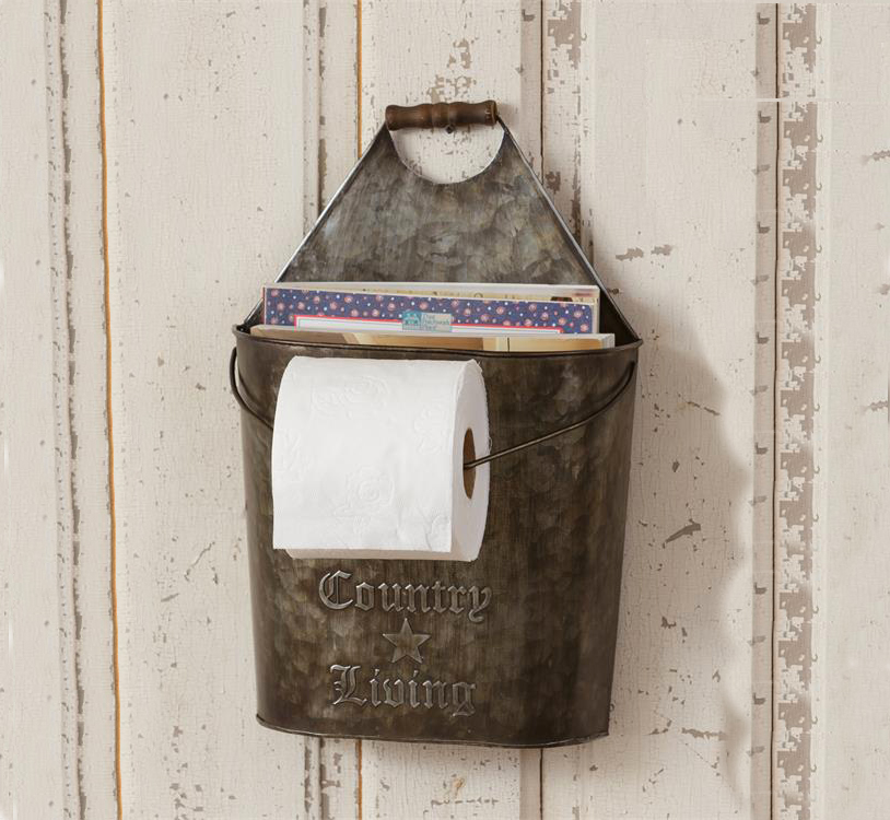 Country Living Farmhouse Toilet Paper Holder Magazine Holder Walmart Com Walmart Com