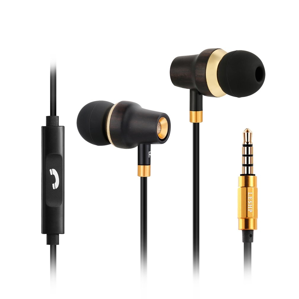 Sport Earphones Gaming Headset Earbud Headphones Premium Wood & copper In-ear Noise-isolating Earphones with Microphone (Mic) & Volume Control