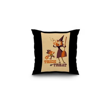 Trick or Treat - Mom & Son - Retro Halloween - Lantern Press Artwork (16x16 Spun Polyester Pillow, Black Border)