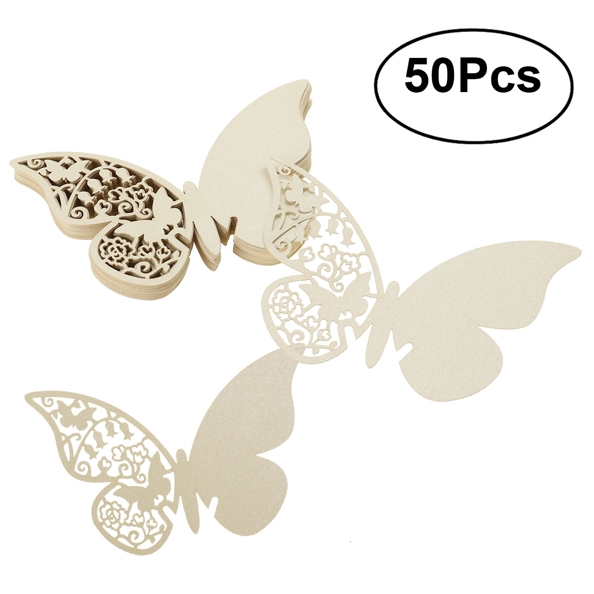 50pcs Butterfly Style Wedding Table Paper Place Card Escort Name Card Wine Glass Card for Wedding Party Decoration