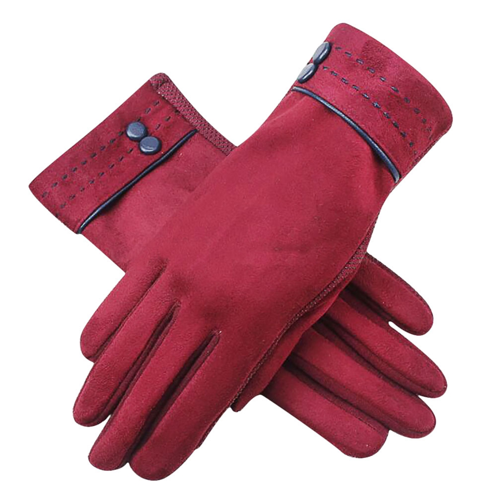 Womens Fashion Screentouch Suede Gloves Winter Warm Outdoor Texting Gloves