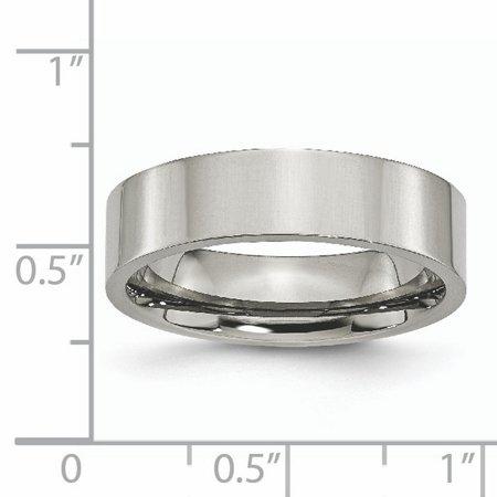 Titanium Flat 6mm Polished Band Ring 11 Size - image 2 de 6
