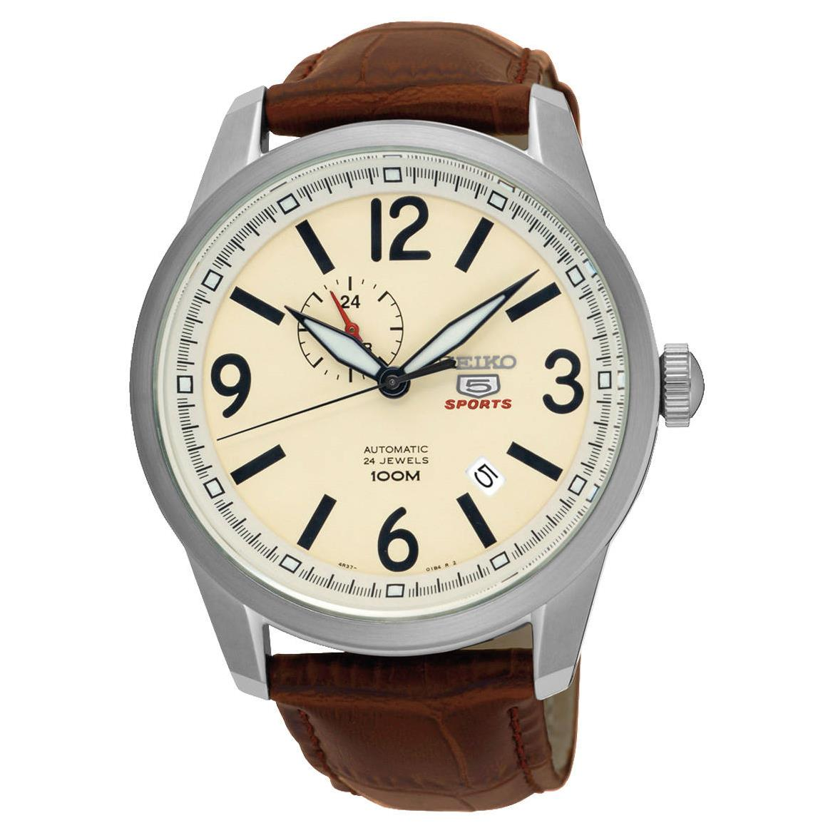 Seiko Men's 5 Sports 45mm Brown Leather Band Steel Case H...
