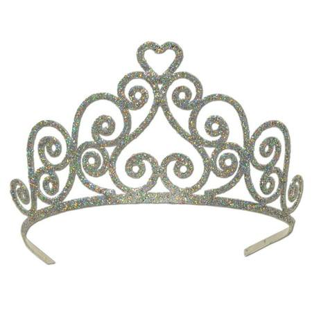 Pack of 6 Elegant Silver Glitter Encrusted Metal Heart Princess Tiara Costume (Metal Tiara)