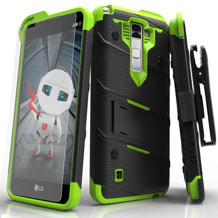 sale retailer dd6d4 ad076 LG Stylo 2 Case, Zizo [Bolt Series] with FREE [LG Stylo 2 Screen Protector]  Kickstand [Military Grade Drop Tested] Holster Belt Clip- LG Stylo 2 LS775