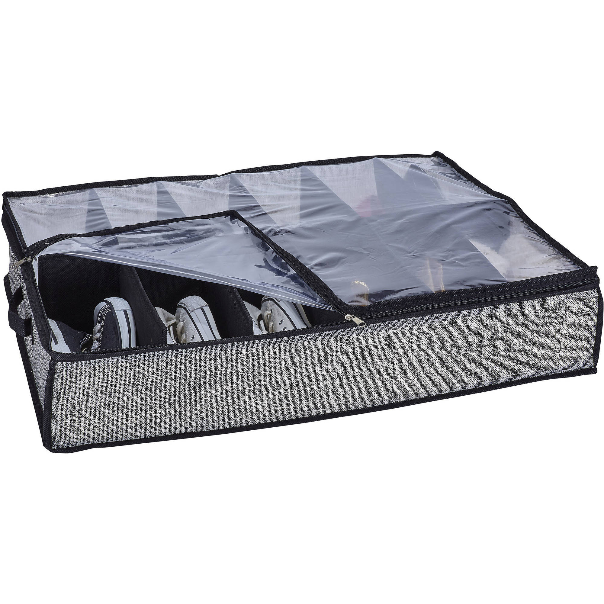 Simplify 12-Pair Under-the-Bed Storage Box, Black