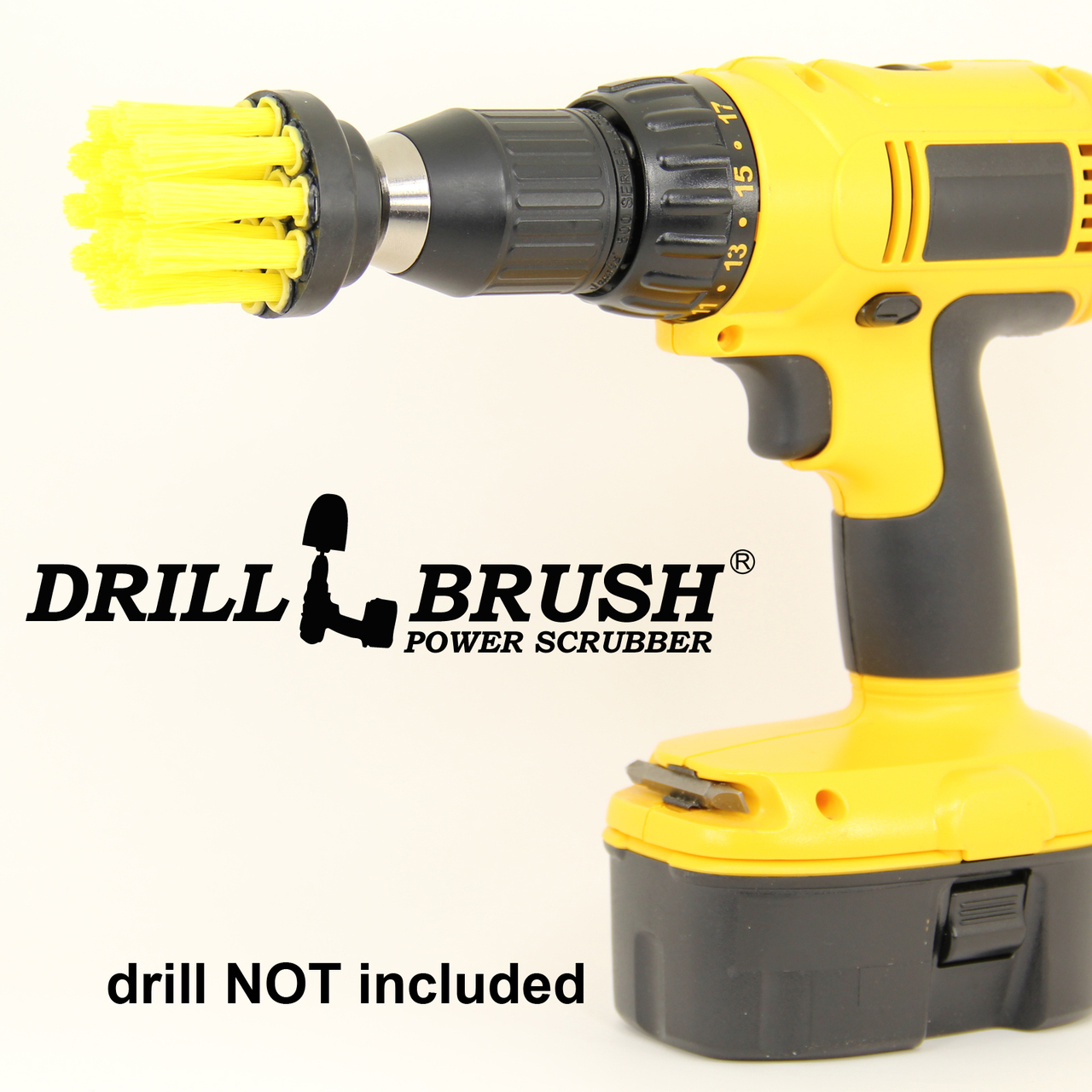 2 inch Long Bristle Yellow Bathroom Scrub Brush fits Power Drill