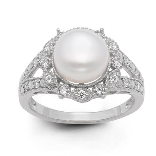 Gioelli Sterling Silver Freshwater Pearl and Created White Sapphire Ring (9.5 mm) Size 5