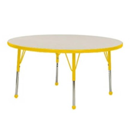 Mahar Manufacturing N60RNYL-TB Round Activity Table with Grey Nebula Top and Yellow Edge, 60 in.