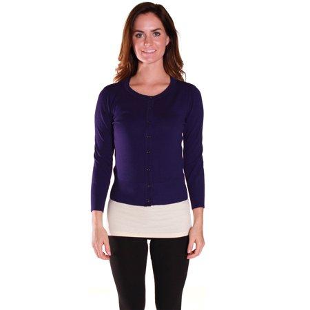 - Emmalise Women Basic Round Neck Button 3/4 Long Sleeve Knit Cardigan Sweater Top - Junior Sizing