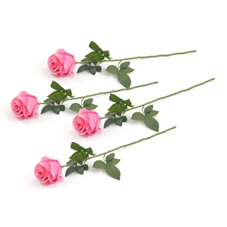 DII 4 Piece Artificial Closed Rose - Natural Silk Flowers For Bridal Bouquet, Home Decoration, DIY, Arts & Crafts Project, Garden, Office Decor, Centerpiece D?cor - Light Pink ()