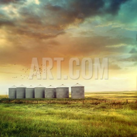 Prairie Grain Silos in Late Summer Print Wall Art By Sandralise