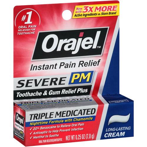 Orajel PM Maximum Strength Oral Pain Reliever Cream, 0.25 oz