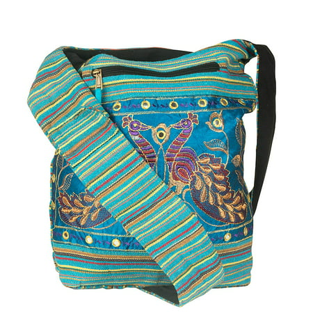 Women Hobo Shoulder Bag Peacock Messenger Casual Everyday Large Roomy School Laptop Boho Hippie Cross Body Market Thick Woven Pockets Functional Blue
