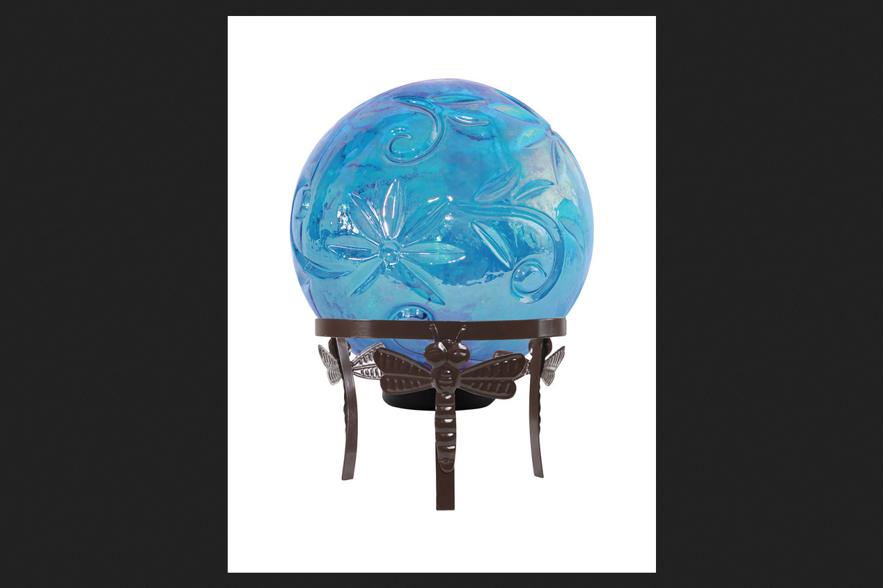Alpine Glass Blue 13.39 in. H Crackle Gazing Ball by Alpine