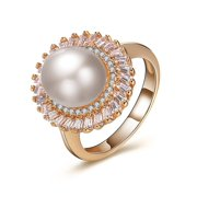 Round Simulated Pearl Baguette CZ Rose Gold Plated Party Ring