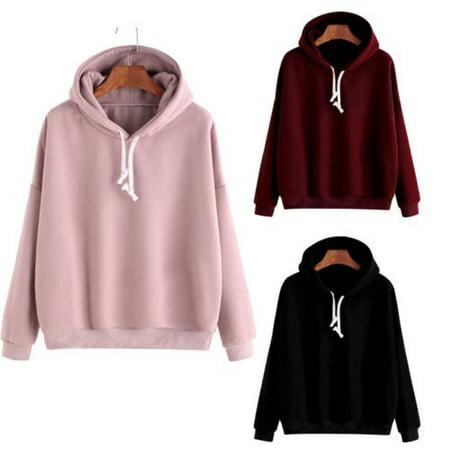 Men Women Pullover Hoodie Unisex Hip-hop Solid Color Plain Sweatshirt Teenager
