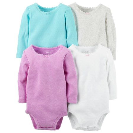 Carters Baby Girls 4-Pack Long-Sleeve Bodysuits Heather