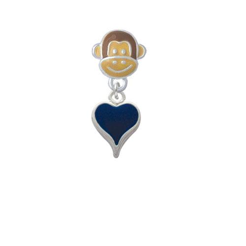 Small Long Blue Heart - Monkey Face Charm Bead