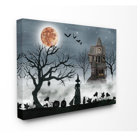 The Stupell Home Decor Collection Halloween Witch Silhouette in Full Moon Haunted House Scene Stretched Canvas Wall Art, 16 x 1.5 x 20 ()