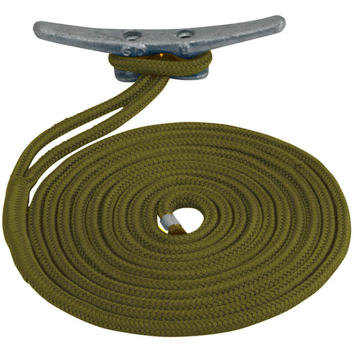 "Sea Dog Dock Line, Double Braided Nylon, 3 8"" x 15', Taupe by Sea Dog"