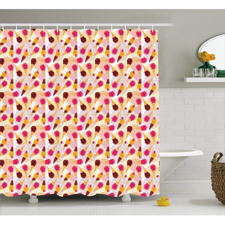 Ice Cream Shower Curtain Sweet Taste Of Summer Theme Chocolate And Fruity Flavor Cherries Circle